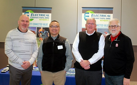 Left to right, Frank Jacobs, business manager, IBEW Local 1, George Fujii, BSI Constructors, Jim Curran, executive vice president, Electrical Connection, Joe Abernathy, vice president, facility planning and engineering, St. Louis Cardinals.