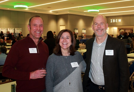 Left to right, Marc Lopata, president, Azimuth Energy, Emily Martin, president, Aschinger Electric, Paul Todd Merrill, director of sustainable construction, Clayco.
